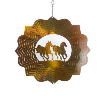 Windspiele  Pferde im Rennen Gold