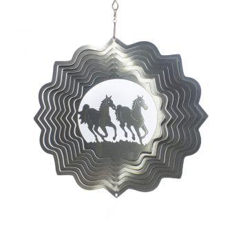 Windspiele Pferde im Rennen Silber