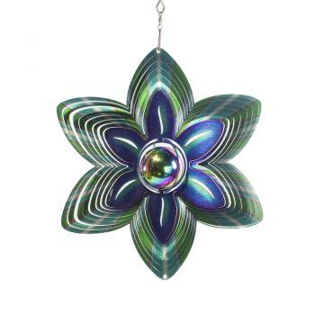Windspiele Blume mit Kugel Grün Blau