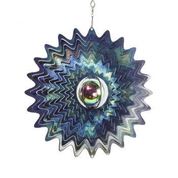 Windspiele Stern mit Kugel Silber Blau